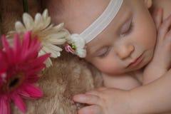 Slaapbaby in de bloemen Stock Foto