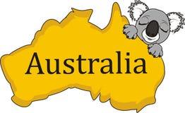 Slaapgezicht van koala met continent Australië vector illustratie