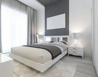Slaapkamer in art deco stijl in witte en grijze kleuren stock