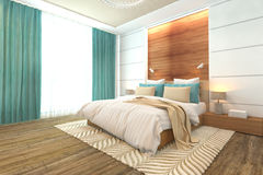 Slaapkamer Binnenlands Ontwerp Stock Foto