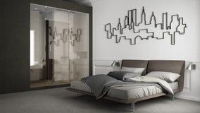 Slaapkamer Binnenlands Ontwerp Stock Fotografie