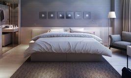 Slaapkamer binnenlandse, moderne stijl Stock Afbeeldingen