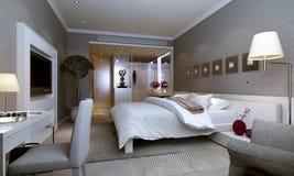 Slaapkamer binnenlandse, moderne stijl Stock Foto