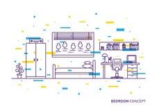 Slaapkamer binnenlandse vectorillustratie stock illustratie