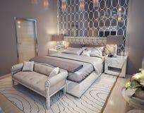 Slaapkamer in een luxueuze moderne stijl stock afbeelding