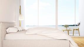Slaapkamer en balkonmening in hotel - het 3D Teruggeven Royalty-vrije Stock Foto's