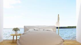 Slaapkamer en terrasmening in hotel of huis - het 3D Teruggeven Royalty-vrije Stock Afbeelding