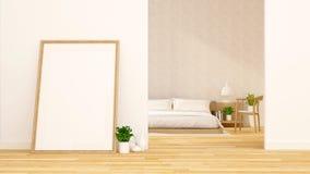 Slaapkamer en van de kunstruimte schoon ontwerp - het 3d teruggeven Royalty-vrije Stock Afbeeldingen
