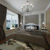 Slaapkamer het Binnenlandse 3D Teruggeven Royalty-vrije Stock Afbeeldingen