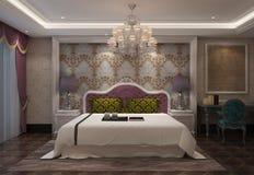 Slaapkamer het Binnenlandse 3D Teruggeven Stock Afbeeldingen