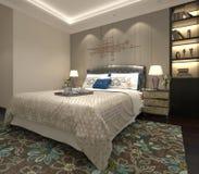 Slaapkamer het Binnenlandse 3D Teruggeven Stock Afbeelding