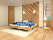 Slaapkamer, het teruggeven Stock Foto