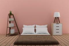 Slaapkamer met boekenrek met kleine lamp en kabinet in roze ruimte in het 3d teruggeven Stock Foto