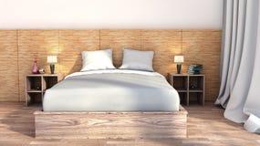 Slaapkamer met houten versiering royalty-vrije illustratie