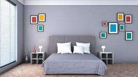 Slaapkamer met kleurrijke schilderijen Stock Afbeeldingen