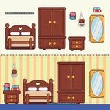 Slaapkamer met meubilair Stock Foto