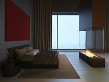 Slaapkamer met Open haard Royalty-vrije Stock Foto
