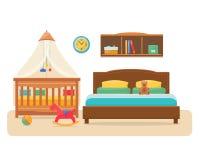 Slaapkamer met oudersbed en babywieg royalty-vrije illustratie