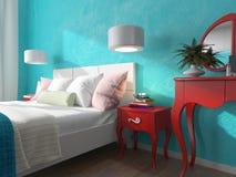 Slaapkamer met turkooise muren en bedlijsten Stock Fotografie
