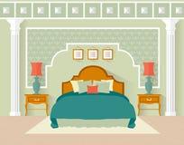 Slaapkamer Vectorillustratie in een vlakke stijl Royalty-vrije Stock Afbeelding
