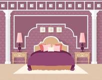 Slaapkamer in vlakke stijl binnen in purpere kleur Royalty-vrije Stock Afbeelding