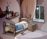 Slaapkamerbinnenland bij nacht in beeldverhaalstijl De vectorachtergrond van het slaapconcept Stock Fotografie