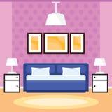 Slaapkamerbinnenland met meubilair Stock Afbeeldingen