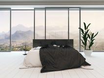 Slaapkamerbinnenland met tweepersoonsbed en beddegoed Stock Afbeeldingen