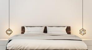 Slaapkamerbinnenland voor moderne huis en hotelslaapkamer Royalty-vrije Stock Afbeelding