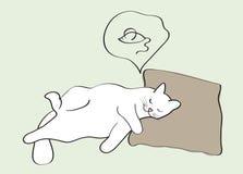 Slaapkat die over muis dromen Royalty-vrije Stock Fotografie