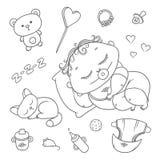 Slaapkind en katje Hygiënepunten, babyzorg en speelgoed Mollig krullend in slaap jong geitje met binnen fopspeen in zijn mond royalty-vrije illustratie