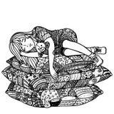 Slaapmeisje op hoofdkussens Stock Afbeeldingen