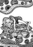 Slaapmeisje op hoofdkussens Royalty-vrije Stock Afbeeldingen