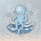 Slaapoctopus met het hoofdkussen stock foto