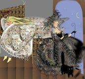 Slaapprinses en een donkere heks die uit het venster kijken Stock Foto