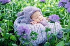 slaapt de 17 dag oude Glimlachende pasgeboren baby op zijn maag in de mand op aard in de tuin openlucht Royalty-vrije Stock Afbeelding