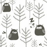 Slaapvogels in de winterbos royalty-vrije illustratie