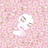 Slaapvrouw in roze rozen Stock Afbeelding