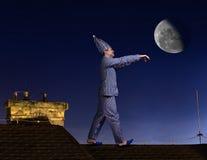 Slaapwandelaar op het dak royalty-vrije stock foto's