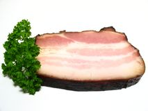 Slab of Bacon with Parsley Stock Images