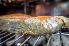Slab of brisket meat in an electric bbq smoker royalty free stock photos