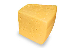 Slab of cheese. Piece of cheese closeup isolated on white background Stock Photo