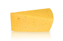 Slab of cheese. Piece of cheese closeup isolated on white background Stock Images