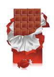 Slab chocolate. Chocolate in the broken off wrapper with a foil and a sweet Royalty Free Stock Image