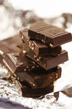 Slab chocolate with nut Royalty Free Stock Image