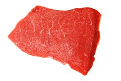 Slab of fresh beef isolated on white Stock Photos