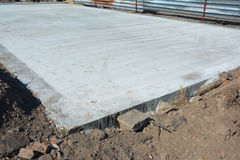 Slab-on-grade foundation. Monolithic slabs are foundation systems. Types of foundations. Stock Photo
