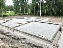 Slab on grade foundation preparation. Footer detail for slab on grade foundation Royalty Free Stock Images