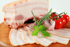 Slab of pork belly. With rind royalty free stock photo