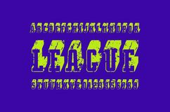 Slab serif bulk font in the sport style. Hollow letters and numbers with rough texture for logo and title design. Green print on violet background Stock Photo